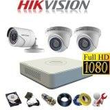 Trọn bộ 3 camera Hikvision 2Mp