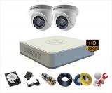 Trọn bộ 2 camera Hikvision 1Mp – HD720p